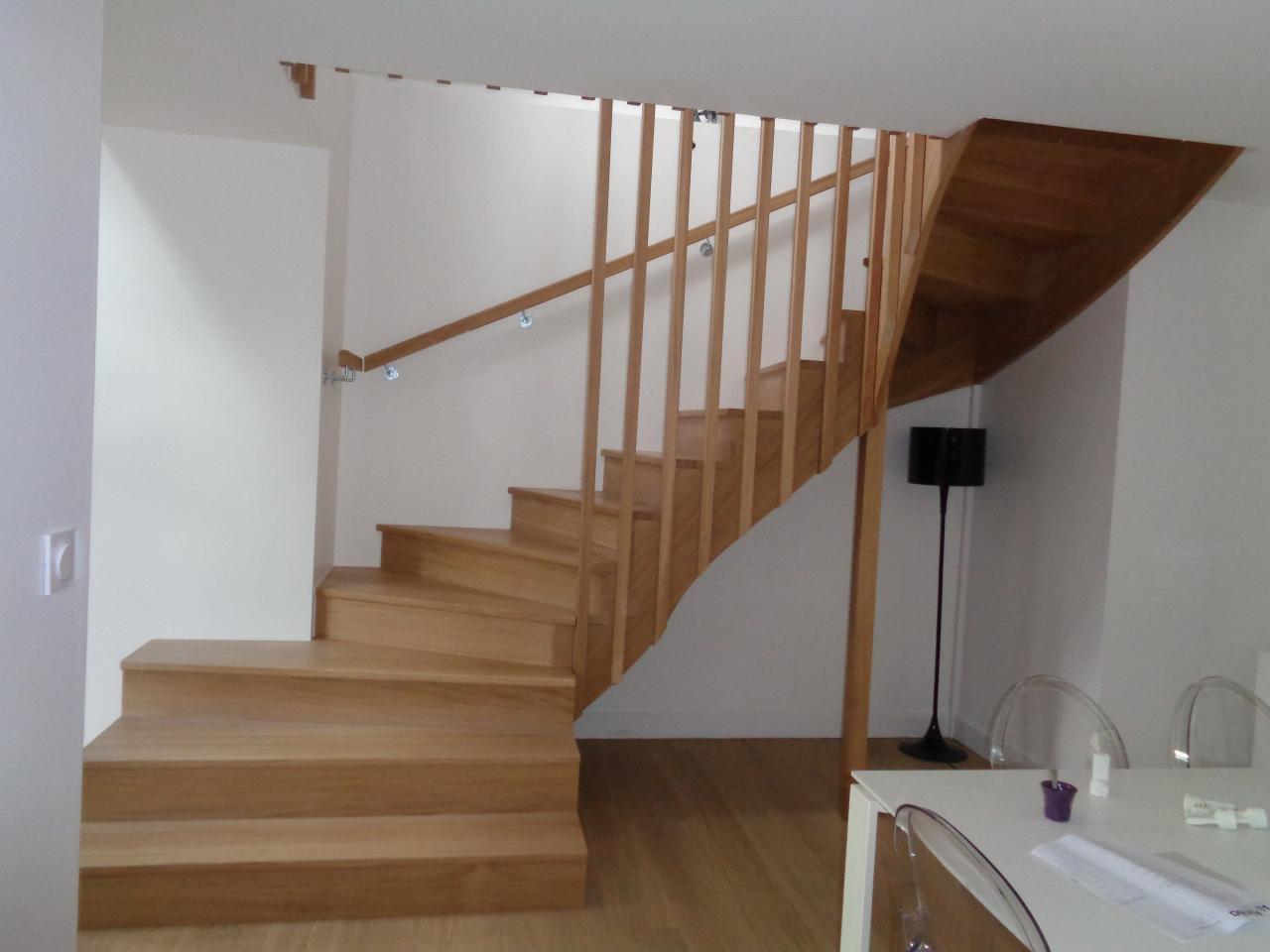 Escalier double quarts tournants haut, sur mesure.