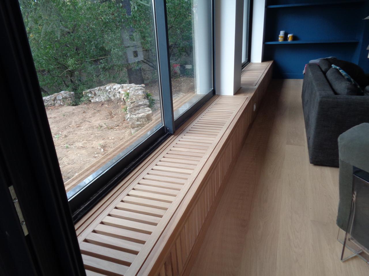 Assise - cache radiateur fabriquée sur mesure, dans notre atelier
